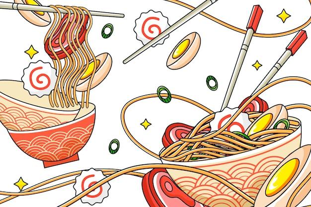 アジア料理レストランの壁画の壁紙 無料ベクター