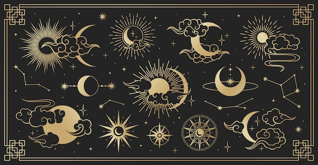 Asian set with clouds, moon, sun and  stars . vector collection in oriental chinese, japanese, korean style Premium Vector