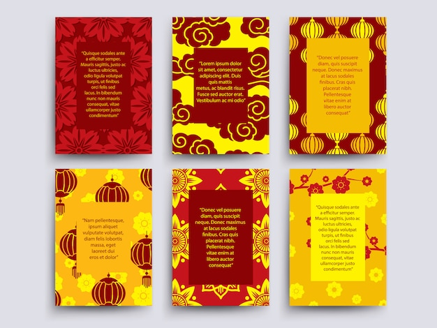 Asian style cards template collection. chinese, japanese, korean design Premium Vector