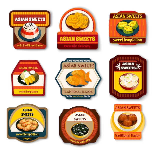 Asian sweets dishes set Free Vector