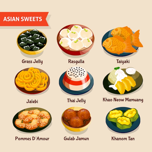 Asian sweets set Free Vector