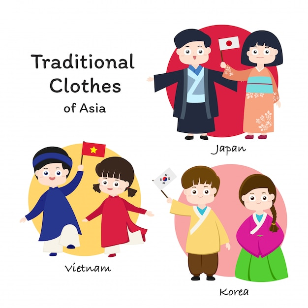 Asian traditional clothes Premium Vector