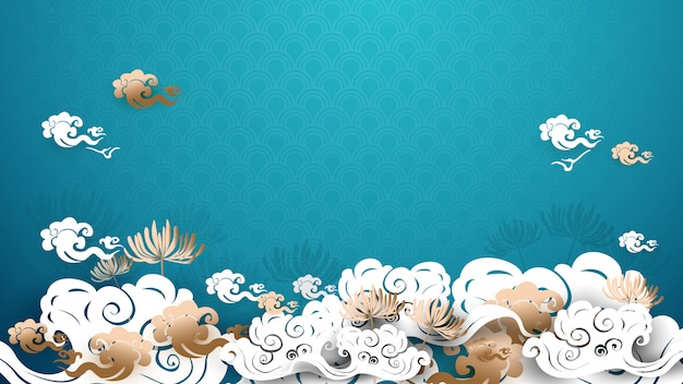 Asian traditional gold and white floral with clouds background Premium Vector