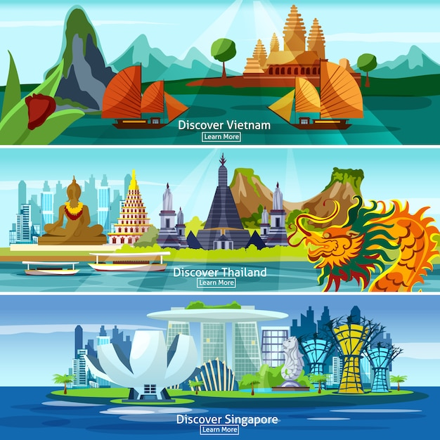 Asian travel banners Free Vector