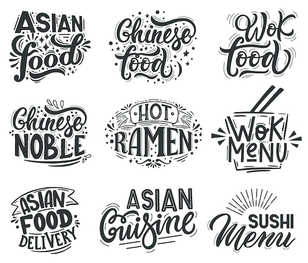 Asian wok. noodle, ramen and wok cafe menu lettering quotes, asian traditional food labels Premium Vector