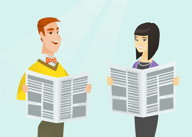 Asian woman and caucasian man reading newspapers. Premium Vector