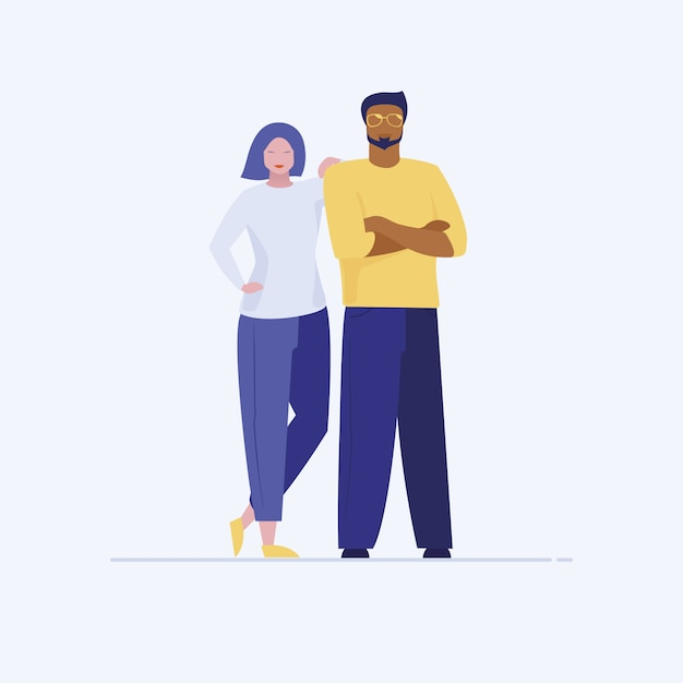 Asian woman leaning on latino man shoulder Free Vector