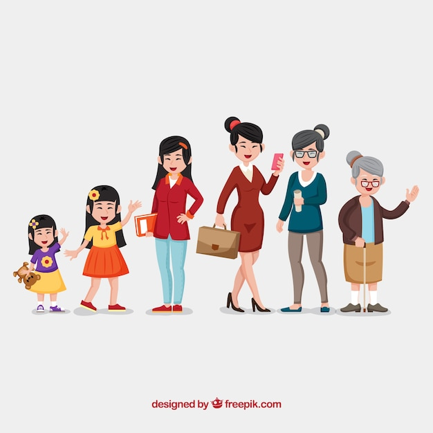 Asian women in different ages Free Vector