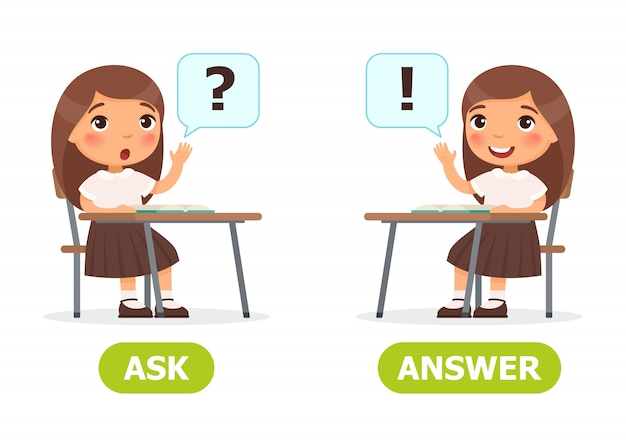 Ask and answer illustration. Premium Vector