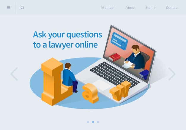 Ask your questions to a lawyer online isometric. Premium Vector