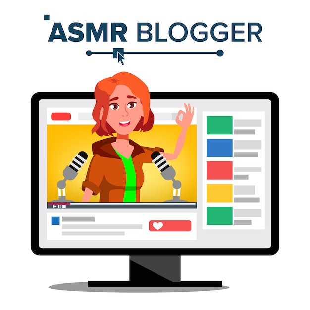 Asmr bloggerチャンネル Premiumベクター