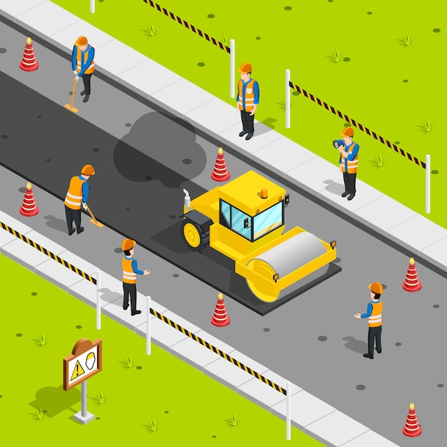 Asphalt laying isometric composition Free Vector