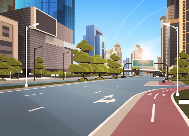Asphalt road with bike Premium Vector