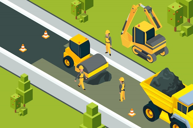 Asphalt street roller. urban paved road laying safety ground workers builders yellow machines isometric  landscape Premium Vector