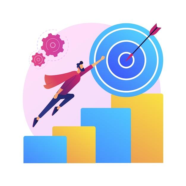 열망, 야망, 추구. 경력 동기 부여, 시작. 전문 개발 아이디어. 무료 벡터
