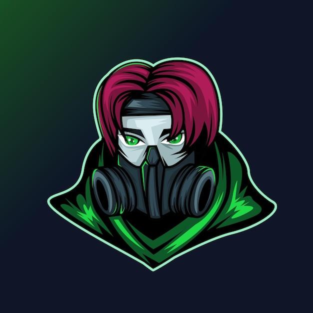 Assassin ninja esport logo gaming Premium Vector