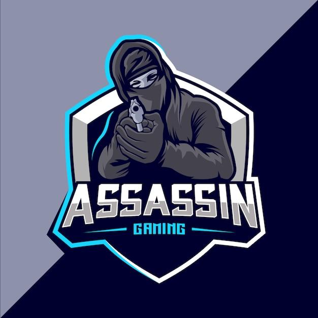 銃のマスコットのeスポーツのロゴデザインと暗殺者 Premiumベクター