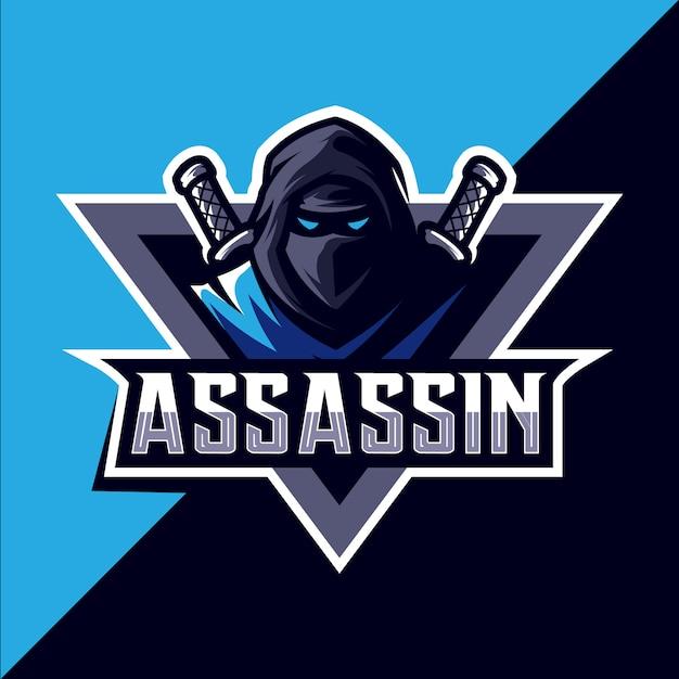 Ассасин с мечом талисман кибер дизайн логотипа Premium векторы