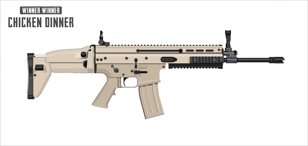 Assault rifle vector isolated on white background - assault rifle weapon. game vector illustration. Premium Vector