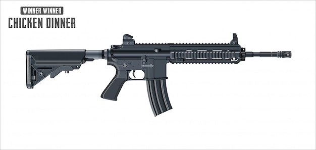 Assault rifle vector isolated on white background Premium Vector
