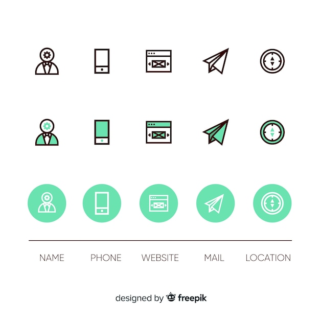 Assemblage of business card icons Free Vector