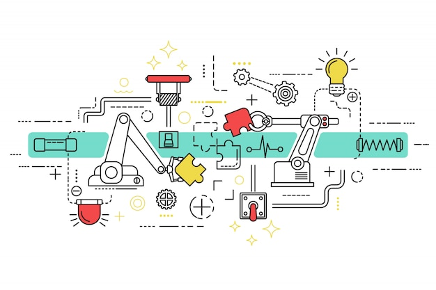 Assembly line art with isolated elements