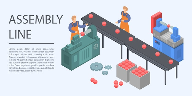 Assembly line concept banner, isometric style Premium Vector