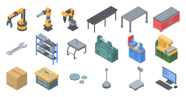 Assembly Icon: Assembly Line Icons Set, Isometric Style Vector