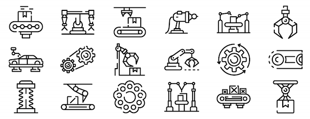 Assembly line icons set, outline style Premium Vector