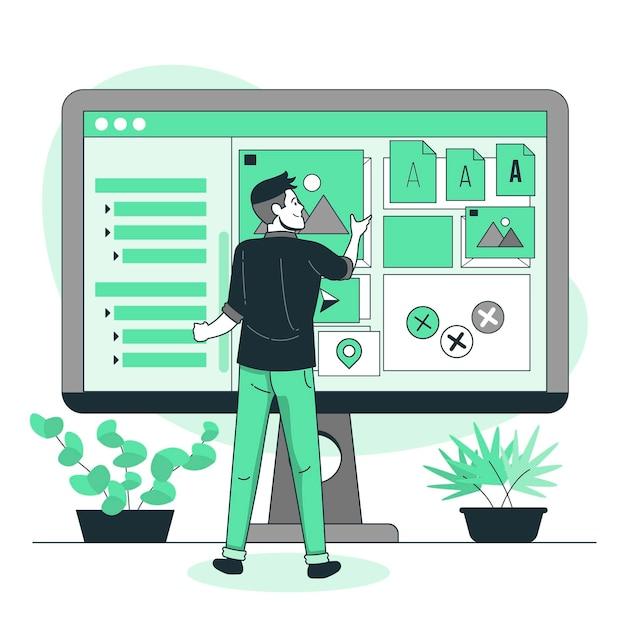 Illustrazione del concetto di selezione delle risorse Vettore gratuito