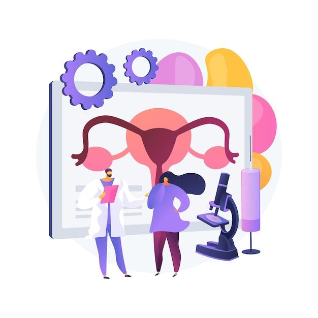 Illustrazione di vettore di concetto astratto di tecnologia di riproduzione assistita (art). procedure di infertilità, uovo di donna, test di gravidanza, donazione di sperma, metafora astratta della clinica di medicina riproduttiva. Vettore gratuito