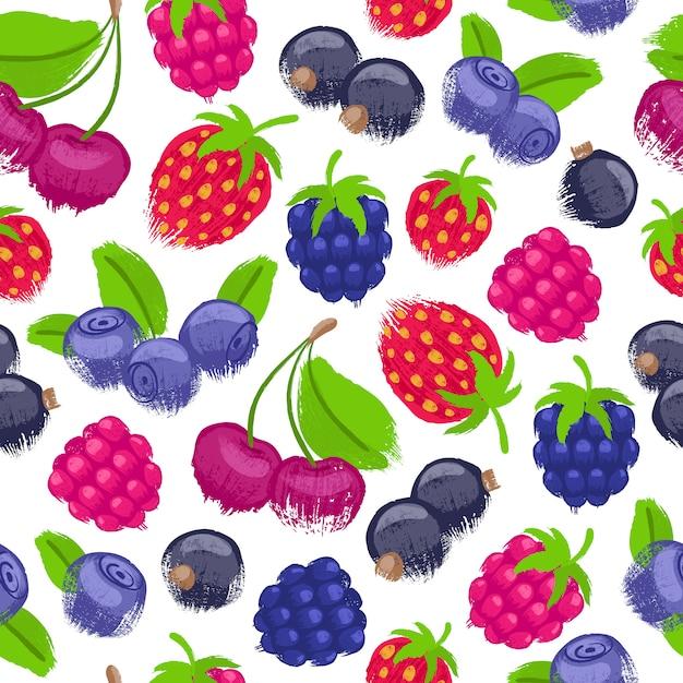 Assorted berries  seamless pattern. Premium Vector