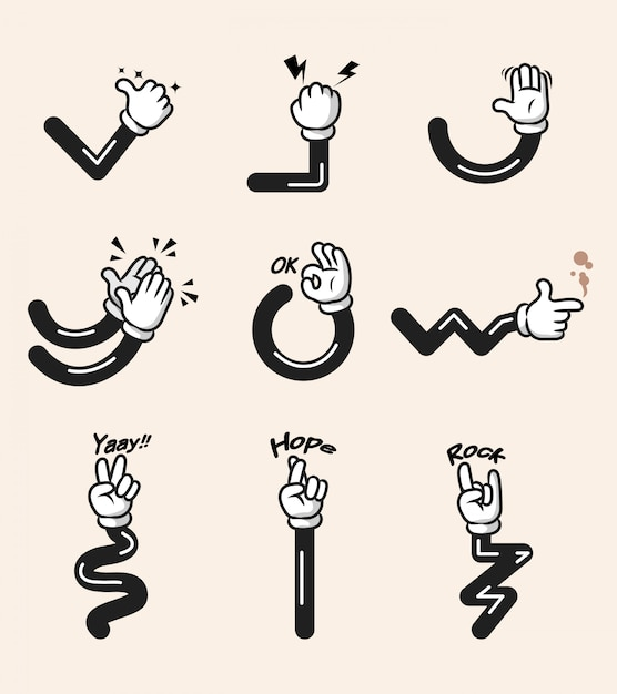 Assorted collection of comic cartoon hand gesture. hand and arms in separated group. Premium Vector