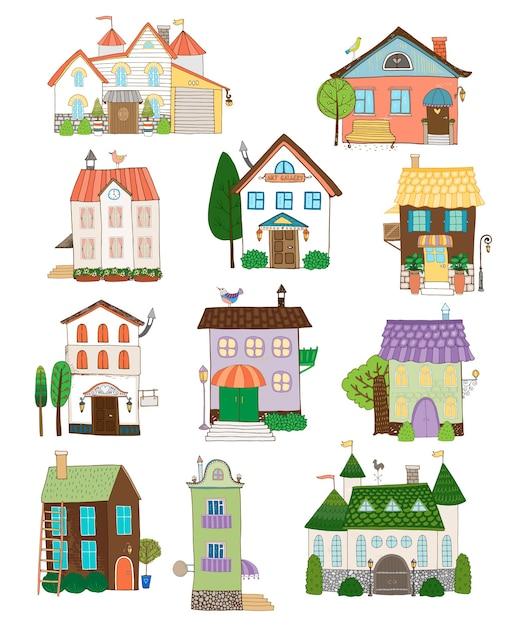 Collezione di case carine assortite Vettore gratuito
