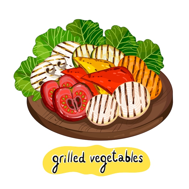 Assorted delicious grilled vegetable Premium Vector