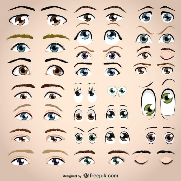 Assorted eyes collection Premium Vector