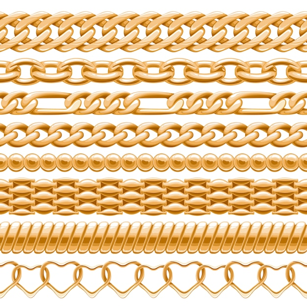 Assorted golden chains on white seamless background.  brushes for your . Premium Vector