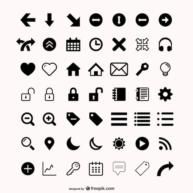 Assorted icons set Free Vector