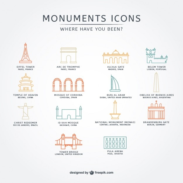 Assorted monuments icons pack