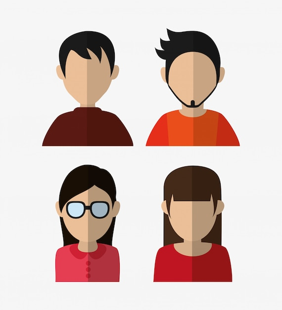 Assorted people portrait icons image Premium Vector