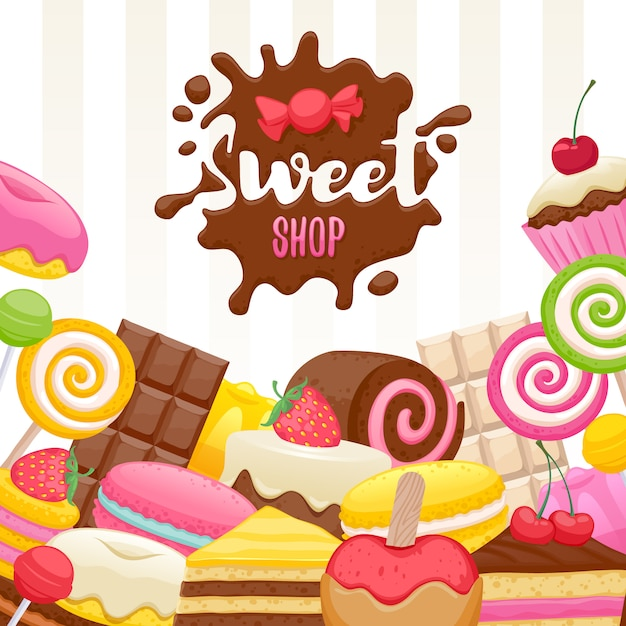 Assorted sweets colorful background Premium Vector