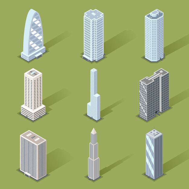 Assorted three dimensional skyscraper set Free Vector