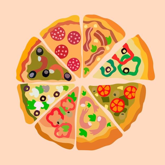 Ассорти пицца ломтики цветная иллюстрация Premium векторы