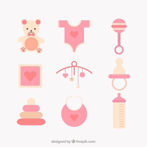 Free Vector | Assortment of baby items in flat design