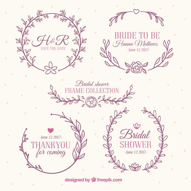 assortment of beautiful bridal shower frames with floral decoration rh freepik com Bridal Shower Templates for Word Wedding Shower Clip Art