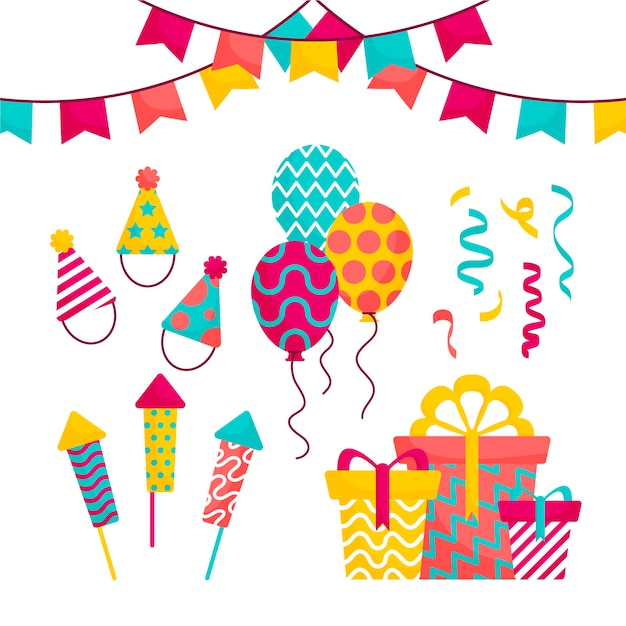 Assortment of birthday decoration Free Vector