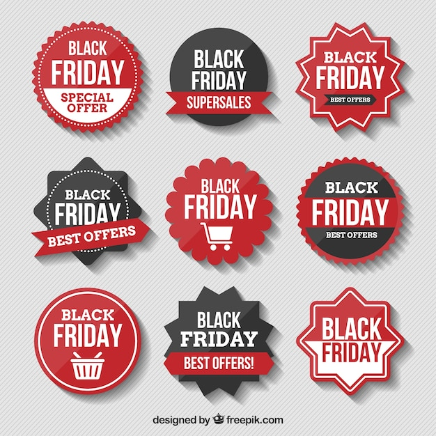 Assortment of black friday stickers Free Vector