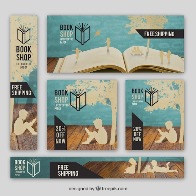Assortment of bookstore banners Free Vector