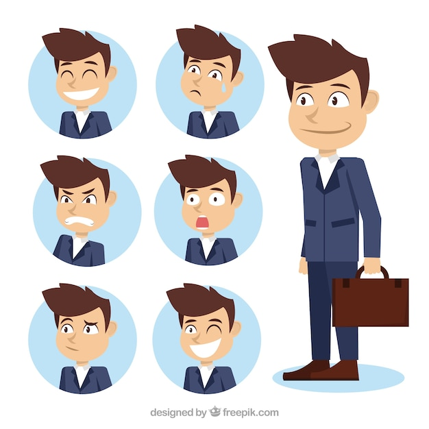 Assortment of businessman character with fantastic expressive faces Free Vector