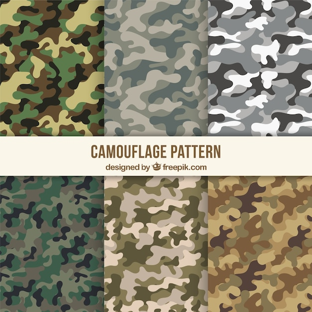 Assortment of camouflage patterns Free Vector
